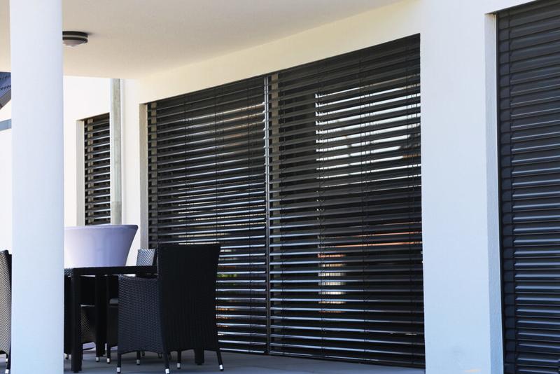 Window with modern blind exterior shot